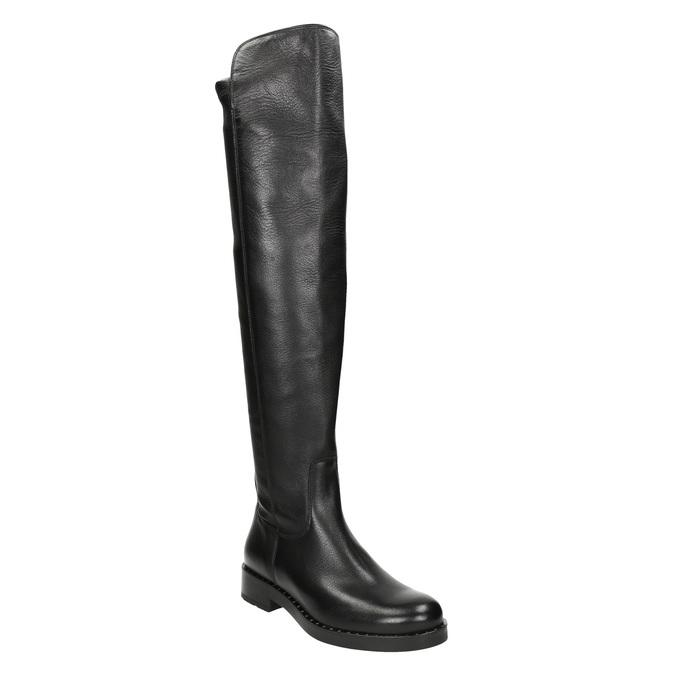 Kožené dámske čižmy nad kolená bata, čierna, 596-6682 - 13