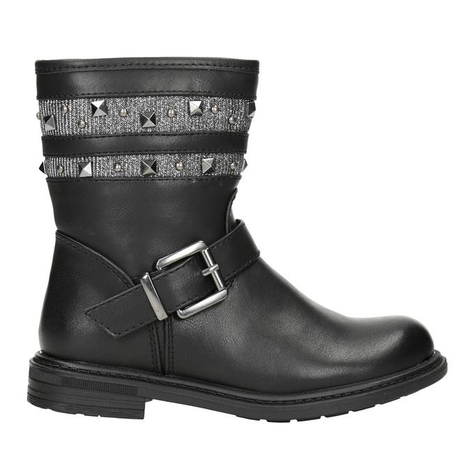 Dievčenské čižmy s cvočkami mini-b, čierna, 291-6398 - 26