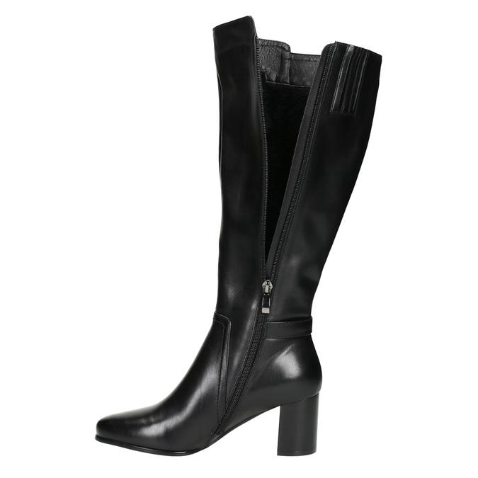 Čižmy na stabilnom podpätku bata, čierna, 694-6638 - 26
