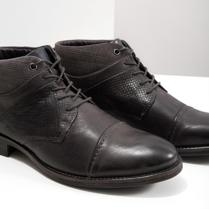 Kožená členková obuv so štruktúrou bata, šedá, 826-2616 - 14