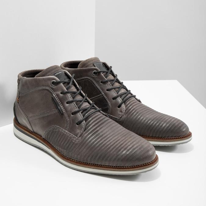 Kožená členková obuv šedá bata, šedá, 826-2912 - 18