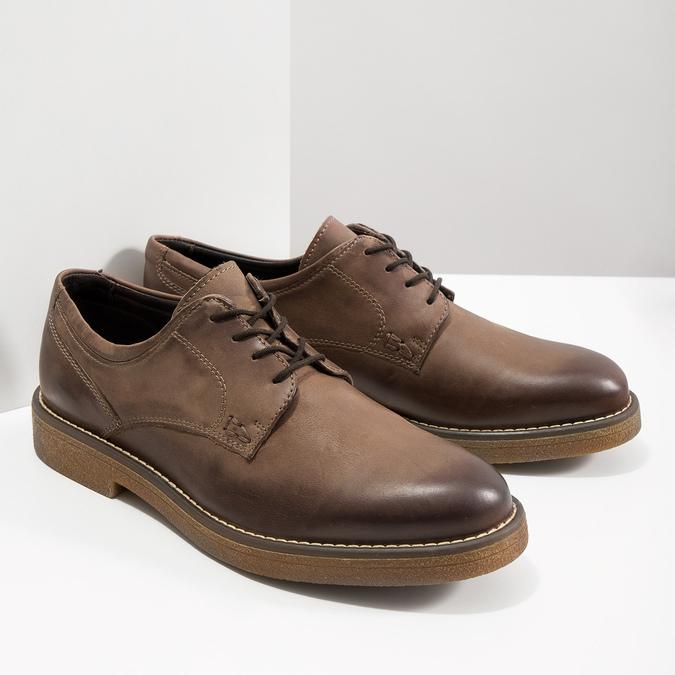 Hnedé kožené poltopánky bata, hnedá, 826-4620 - 18