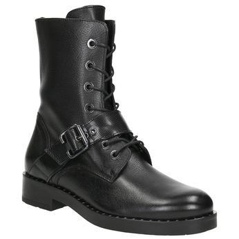 Dámske kožené čižmy s prackou bata, čierna, 596-6681 - 13
