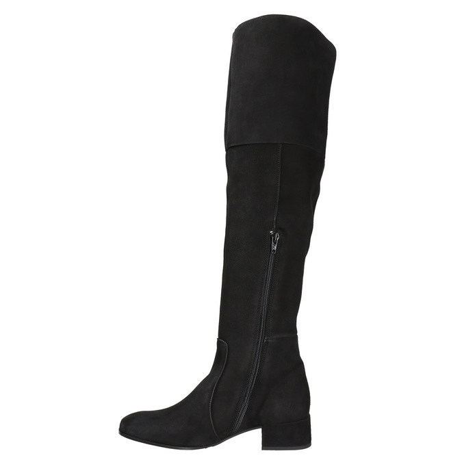 Dámske kožené čižmy nad kolená bata, čierna, 693-6604 - 15