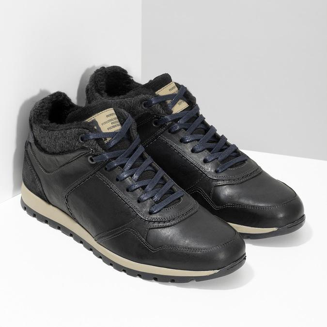 Pánske kožené tenisky so zateplením bata, čierna, 846-6646 - 26
