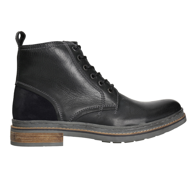Kožená zimná členková obuv bata, čierna, 896-6685 - 15