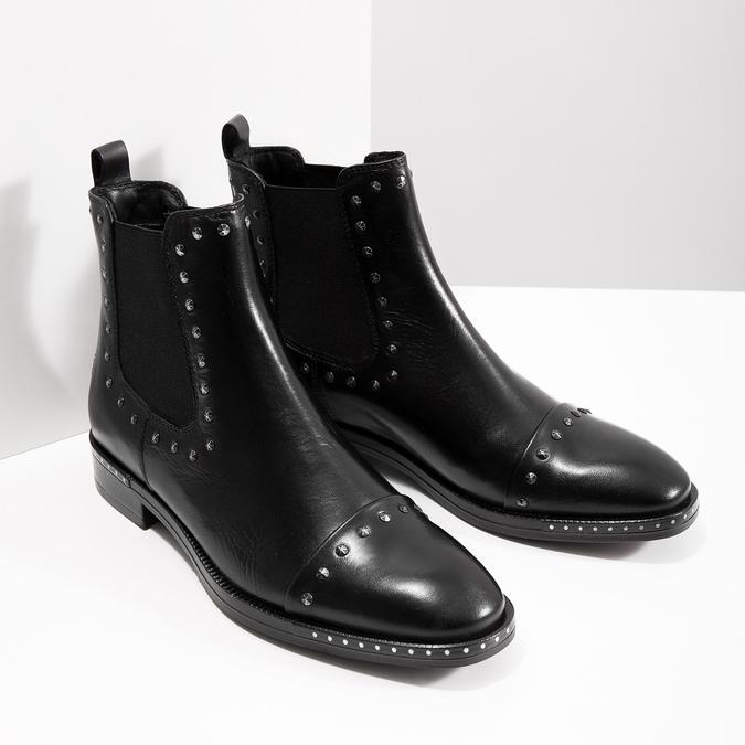 Dámske kožené Chelsea s cvokmi bata, čierna, 596-6679 - 18