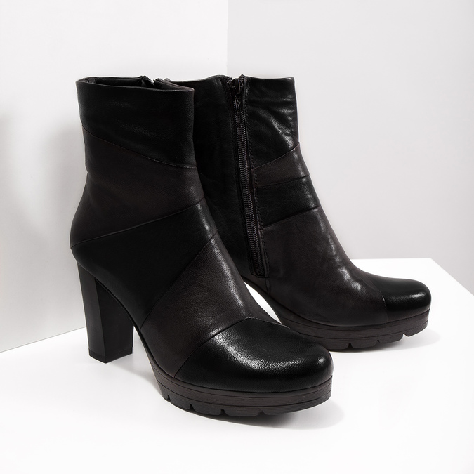 Kožená členková obuv na podpätku bata, šedá, 796-2650 - 18