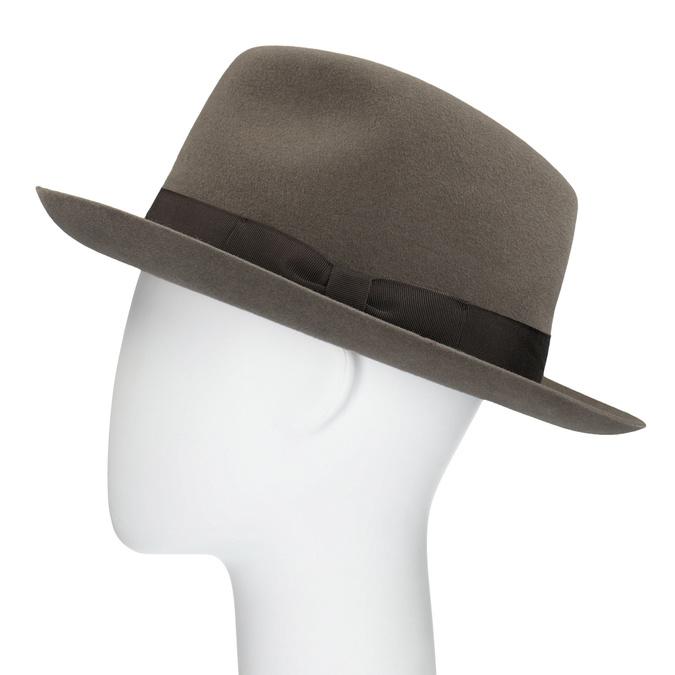 Pánsky hnedý klobúk s mašľou tonak, hnedá, 909-3648 - 26