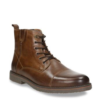 Kožená členková obuv so zateplením bata, hnedá, 896-4662 - 13