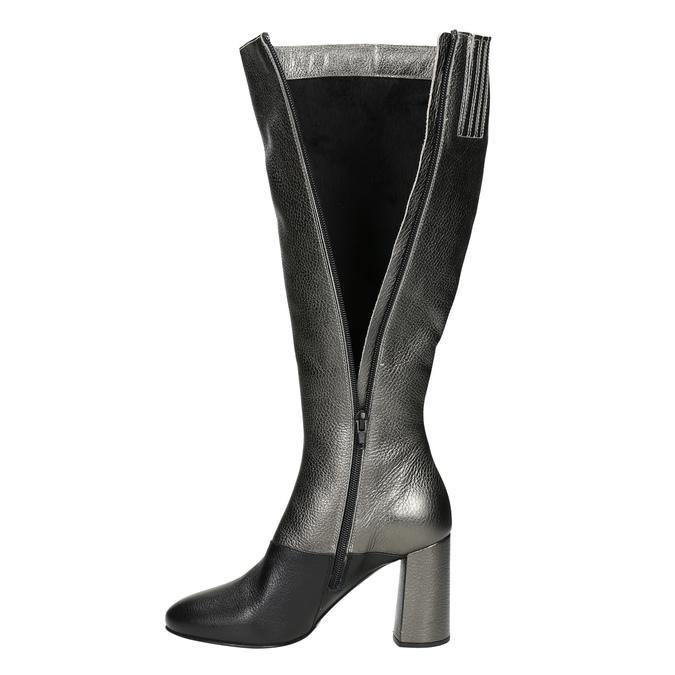 Kožené dámske čižmy classico-and-bellezza, strieborná, 796-8027 - 15