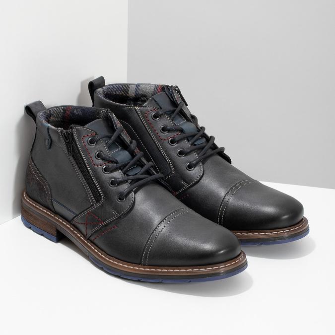 Pánska kožená členková obuv so zipsom bata, šedá, 896-2678 - 26