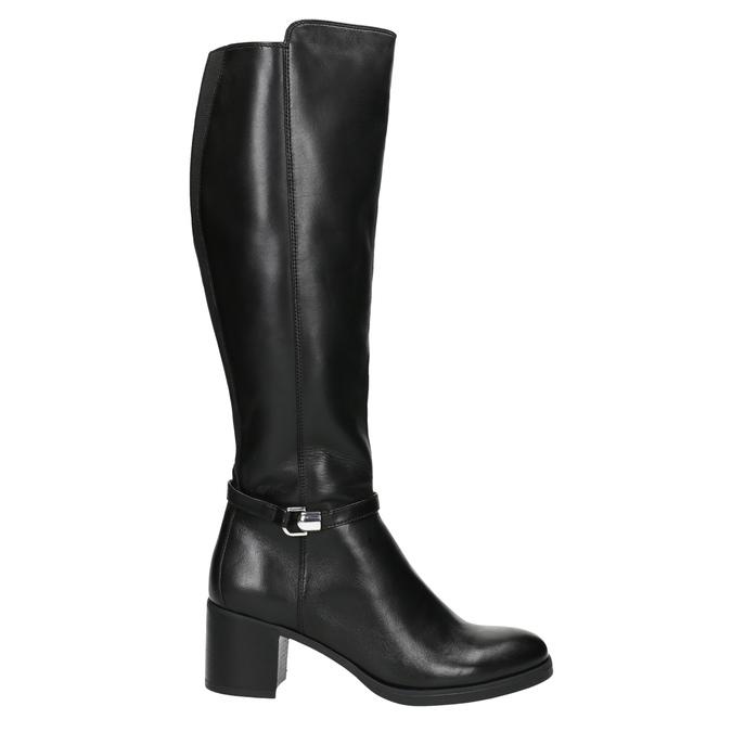 Kožené dámske čižmy na stabilnom podpätku bata, čierna, 694-6637 - 15