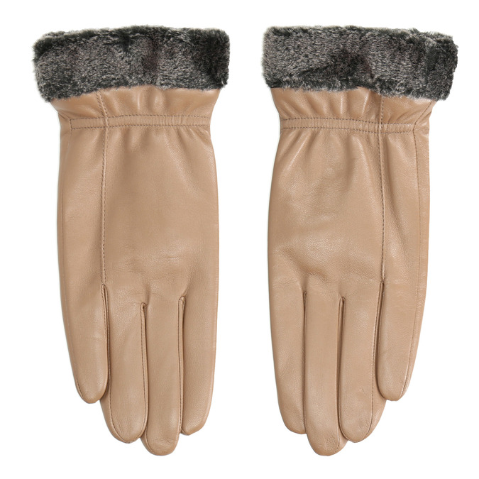 Dámske kožené rukavice béžové bata, béžová, 904-4112 - 26