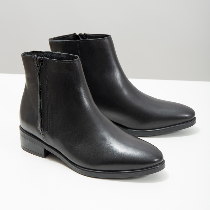 Kožená členková obuv so zipsom čierna bata, čierna, 594-6518 - 18