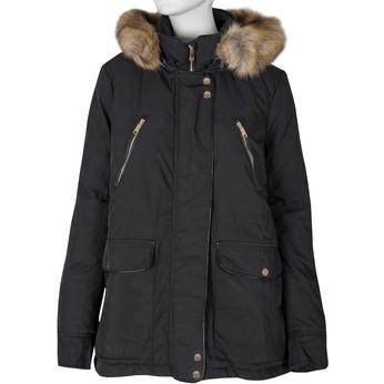Dámska bunda s kožúškom bata, čierna, 979-6177 - 13