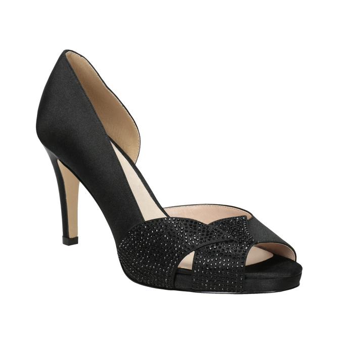 Čierne lodičky s kamienkami bata, čierna, 729-6613 - 13