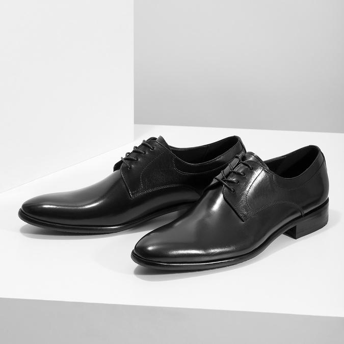 Pánske kožené Derby poltopánky bata, čierna, 824-6233 - 16