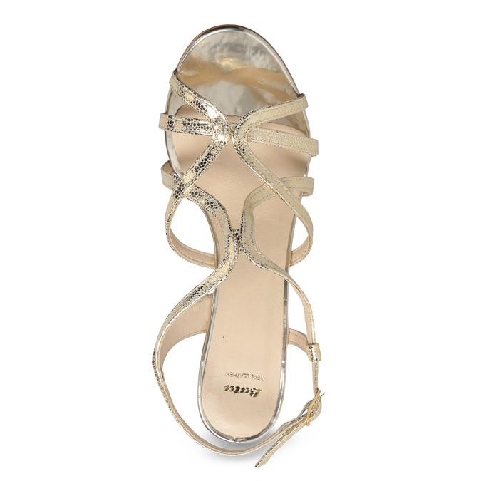 Zlaté spoločenské sandále z kože bata, 726-8648 - 17