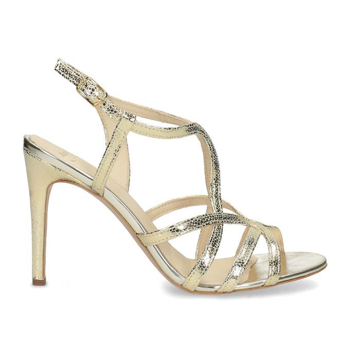 Zlaté spoločenské sandále z kože bata, 726-8648 - 19