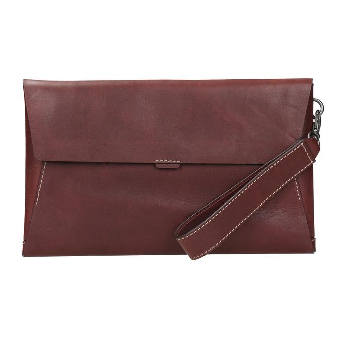 Kožená listová kabelka s prešitím bata, červená, 966-5285 - 26