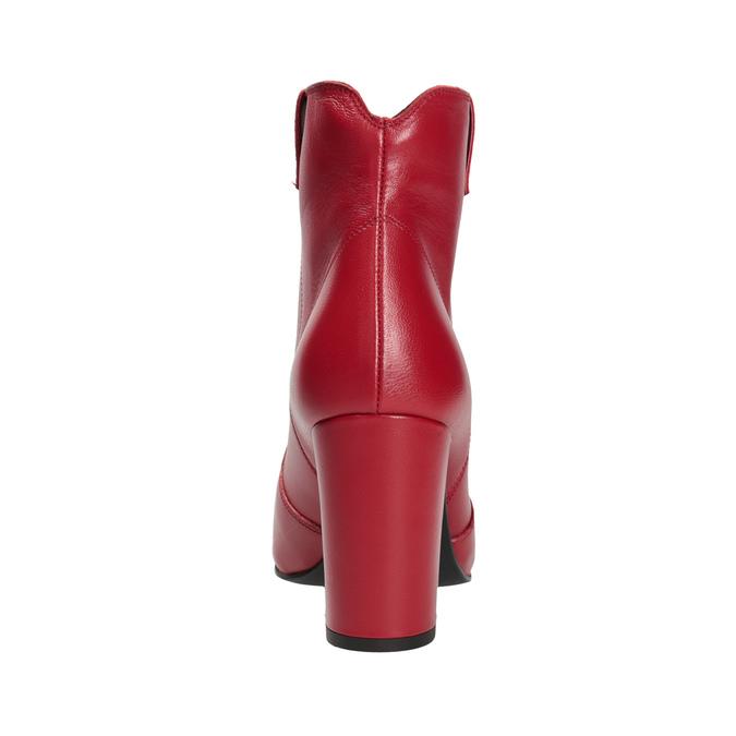 Červené členkové čižmy z kože bata, červená, 794-5652 - 15