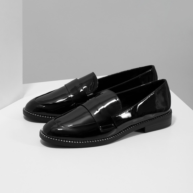 Lakované dámske mokasíny bata, čierna, 511-6607 - 16