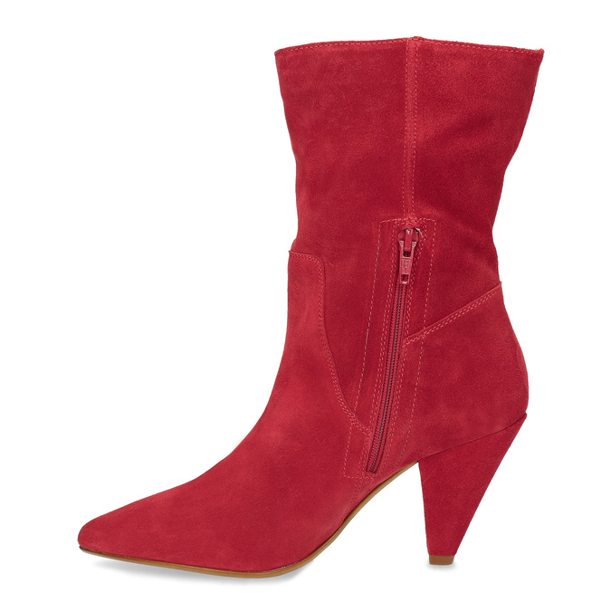 Červené kožené čižmy do špičky bata, červená, 793-5612 - 17