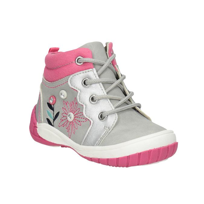 Členková detská obuv s výšivkou bubblegummers, šedá, 121-2619 - 13