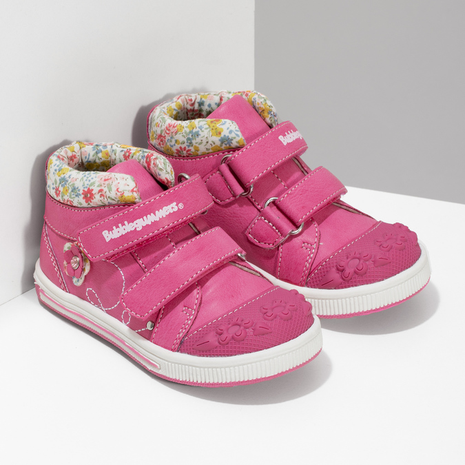Ružová členková obuv na suchý zips bubblegummers, 121-5618 - 26