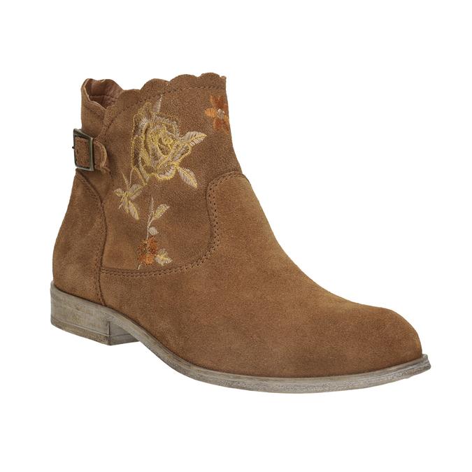 Členkové kožené čižmy s výšivkou bata, hnedá, 596-4686 - 13