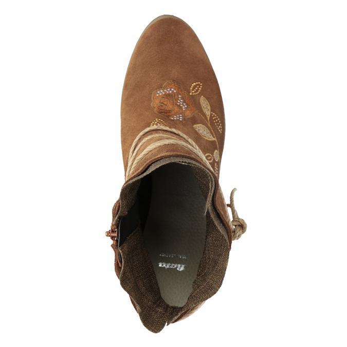 Kožené členkové čižmy s výšivkou bata, hnedá, 696-4655 - 17