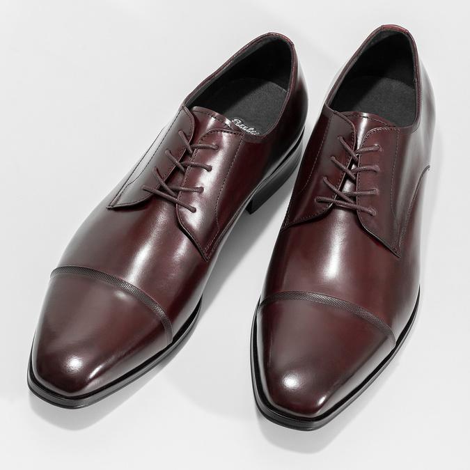 Vínové kožené poltopánky bata, červená, 826-5851 - 16