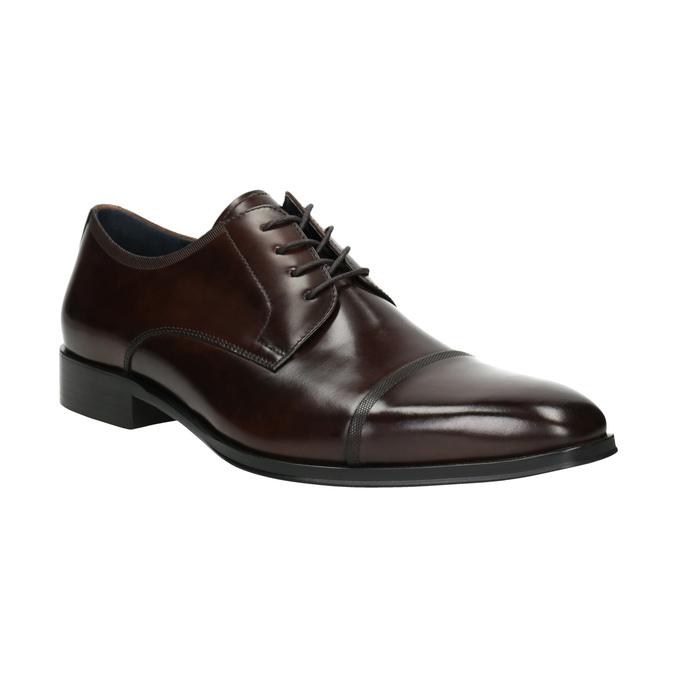 Tmavé hnedé kožené Derby poltopánky bata, hnedá, 826-4851 - 13