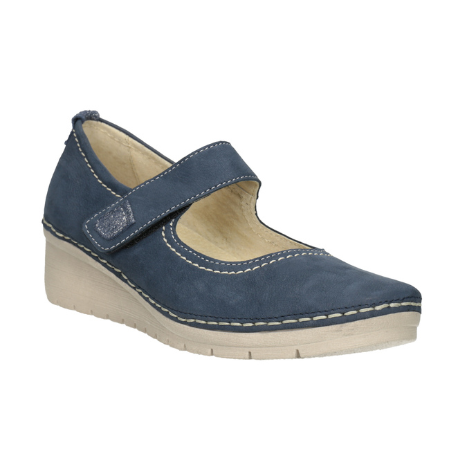 Kožené baleríny na klinovom podpätku bata, modrá, 626-9645 - 13
