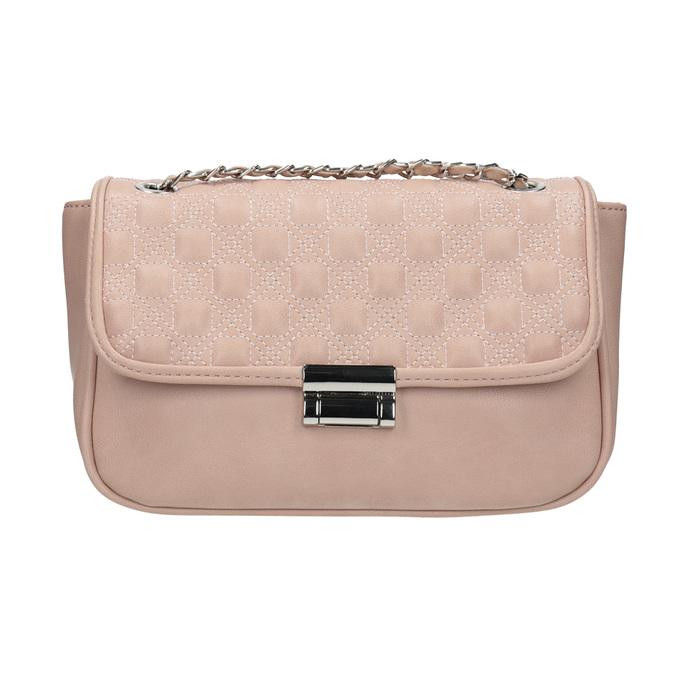 Crossbody kabelka s prešitím na klope bata, ružová, 961-9826 - 26