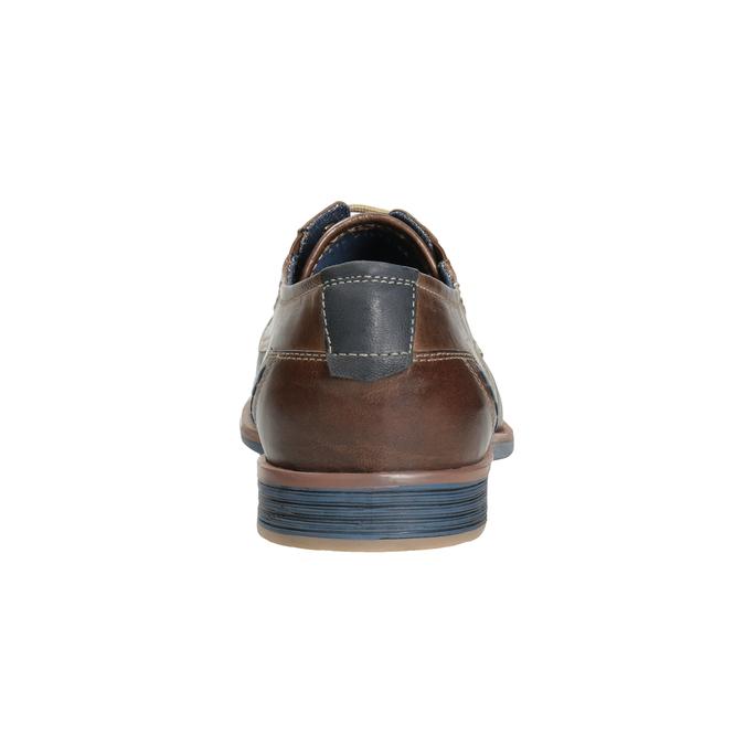Hnedé kožené poltopánky v ležérnom štýle bata, hnedá, 826-4929 - 16