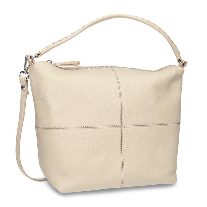 Krémová kožená Hobo kabelka bata, béžová, 964-8290 - 13
