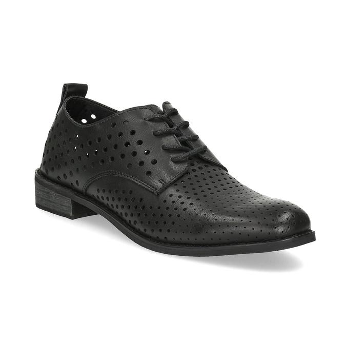 Dámske poltopánky s výraznou perforáciou bata, čierna, 521-6610 - 13