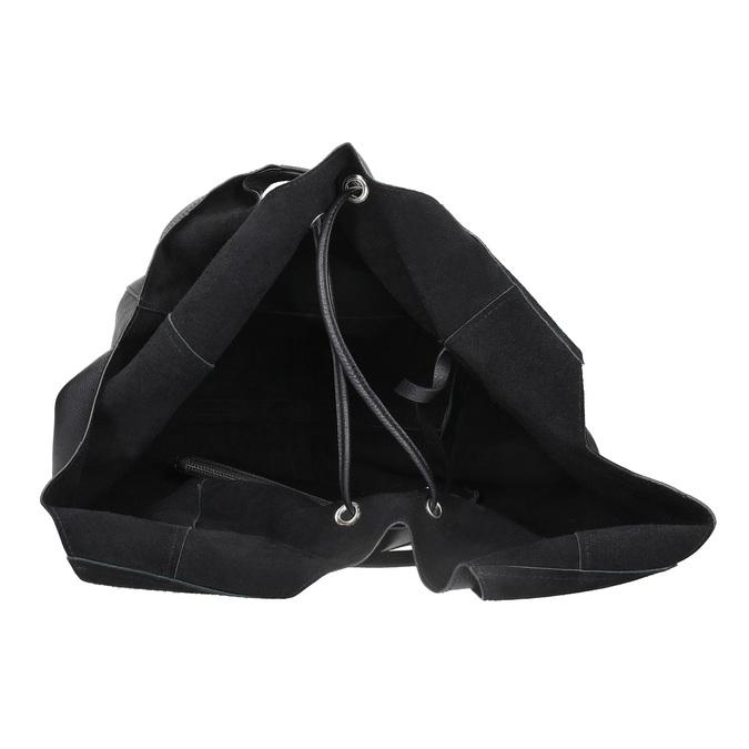 Kožená dámska kabelka so strapcami bata, čierna, 964-6294 - 15