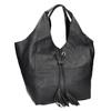 Kožená dámska kabelka so strapcami bata, čierna, 964-6294 - 13