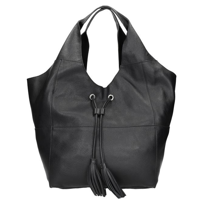 Kožená dámska kabelka so strapcami bata, čierna, 964-6294 - 26