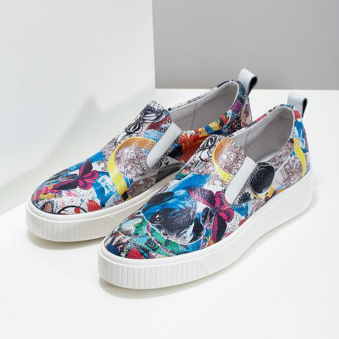 Kožená dámska Slip-on obuv s potlačou bata, šedá, 536-2608 - 26