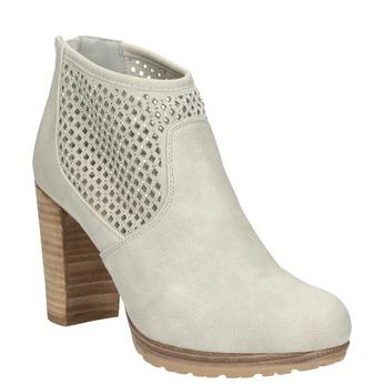 Členkové čižmy s perforáciou bata, béžová, 791-2615 - 13