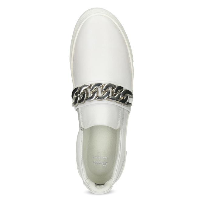 Kožené dámske Slip-on s retiazkou bata, biela, 514-1601 - 17