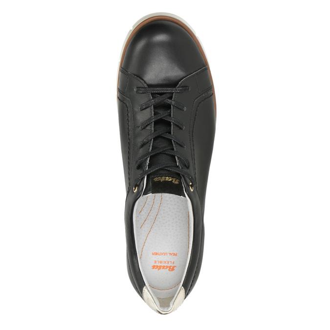 Dámske ležérne kožené poltopánky flexible, čierna, 546-6614 - 17