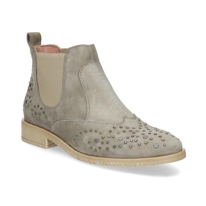 Kožené členkové topánky s kovovou aplikáciou bata, šedá, 596-2690 - 13