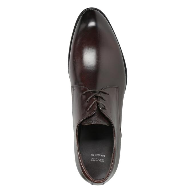 Tmavé hnedé kožené poltopánky bata, hnedá, 824-4983 - 15