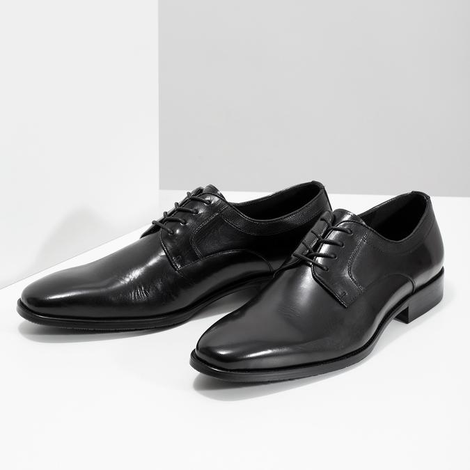 Čierne kožené Derby poltopánky bata, čierna, 824-6981 - 16