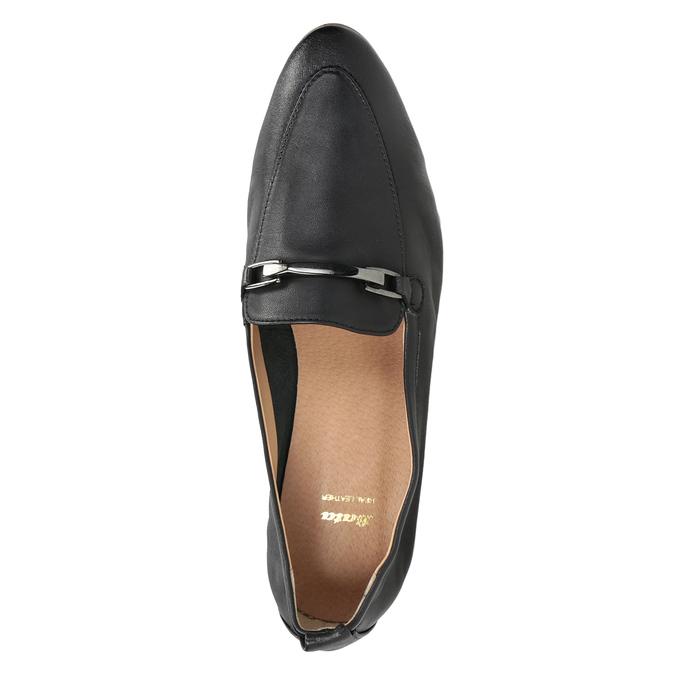Kožené dámske mokasíny s prackou bata, čierna, 516-6619 - 17